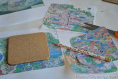 Coasters from Disney maps - could do any theme, princesses or cars or trains for kids, cars or flowers or a million others for adults! Gotta try this!