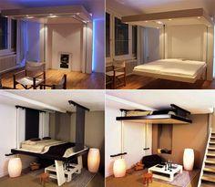 lit escamotable plafond avant et apres