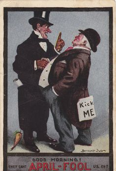 They Can't April-Fool Us, Eh! #Edwardian #postcards #vintage #April_Fools_Day