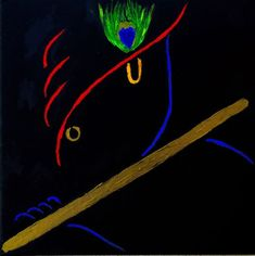 You are looking at original, handmade beautiful painting of the Supreme Godhead Hindu Lord Krishna. Vibrant, line art acrylic painting on stretched, framed black canvas Lord Krishna Wallpapers, Radha Krishna Wallpaper, Radha Krishna Pictures, Lord Krishna Images, Ganesh Wallpaper, Lord Krishna Sketch, Krishna Drawing, Krishna Art, Shree Krishna