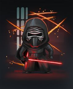 Star Wars Saga, Star Wars Kylo Ren, Star Wars Fan Art, Star Wars Cartoon, Avengers Cartoon, Star Wars Pictures, Star Wars Images, Cuadros Star Wars, Star Wars Drawings