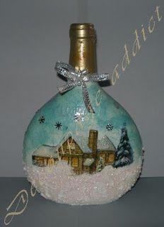 Decoupage viciado: garrafas de Natal!