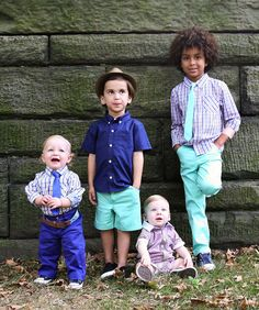 """Here's a sneak peek at Andy & Evan's spring-summer 2014 collection of sportswear for """"little gentlemen."""" While the shapes of the dressy and dressy-casual pieces are as well cut and fashion forward as in past seasons, the palette is especially fresh in shades of violet-toned navy, lilac, aqua, soft gray blue and a hit of gold. Plaid lends a timely and sporty mood. www.andyandevankids.com (designer's preview)"""
