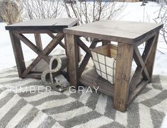 Rustic EndTable | Ana White | DIY End Table | Farmhouse Coffee Table |  Rustic X