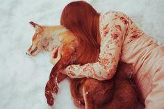 Red girl, red fox.