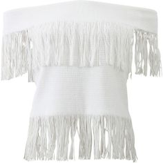 Jonathan Simkhai Off-the-shoulder Fringe Top ($565) ❤ liked on Polyvore featuring tops, shirts, fringe shirts, white off shoulder top, white fringe shirt, white top and white crop shirt