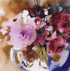 KO.101 teapot of roses - limited edition giclee print Abstract Flowers, Watercolor Flowers, Watercolor Paintings, Watercolour, Paintings For Sale, Art Paintings, Kate Osborne, Fashion Illustrations, Painting Inspiration