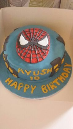 Spiderman cake. Carrot cake with white chocolate buttercream :)