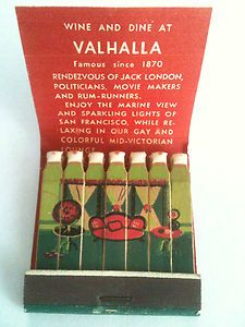 Valhalla Inn Sally Stanfords Sausalito California Vintage Full Feature Matchbook | eBay