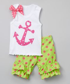 Another great find on #zulily! Beary Basics White Anchor Tank & Lime Ruffle Shorts - Infant, Toddler & Girls by Beary Basics #zulilyfinds