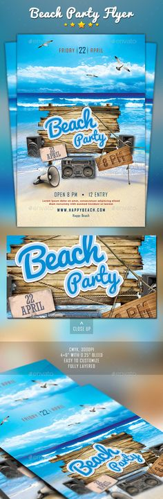 Beach Party Flyer Template PSD #design Download: http://graphicriver.net/item/beach-party/12810252?ref=ksioks