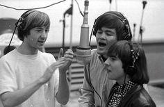 Micky Dolenz , Peter Tork and Davy Jones recording.