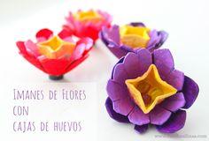 Imanes de flores hechas con cajas de huevo {Egg Carton Flowers Magnets}