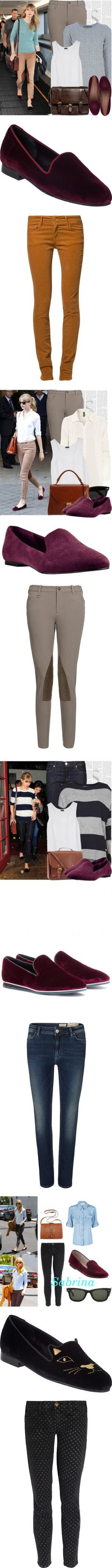 """Taylor Swift Really Likes Her Burgundy Smoking Slippers"" by polyvore-editorial ❤ liked on Polyvore"