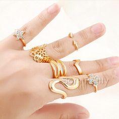 $2.58 7Pcs/set Star Lacy Design Rings Set Gold Arrow Wave Cross Pattern Knuckle Tail Ring - BornPrettyStore.com