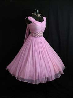 Items similar to Vintage Orchid Pink Lilac Beaded Ruched Chiffon Organza Party Prom Wedding Dress on Etsy 50s Dresses, Pretty Dresses, Homecoming Dresses, Beautiful Dresses, Beautiful Flowers, Bridesmaid Dresses, Vintage Prom, Vintage Mode, 1950s Style
