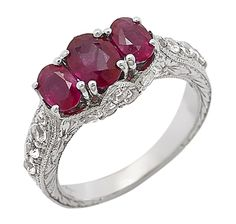 Generations 1912 Tiara Ruby  White Sapphire Sterling Silver Ring