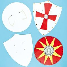 Strong Card Shields 2 Assorted Shapes for Kids to Paint & Decorate for Fancy Dress (Pack of 4)