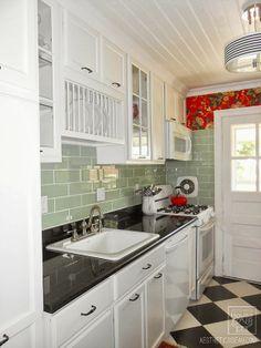 Aesthetic Oiseau: AO House Tour: Kitchen Remodel; love the backsplash tile, dark counters against white cabinets.