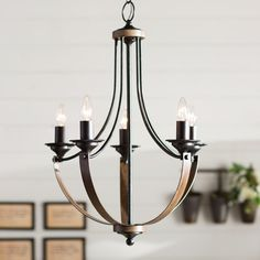 Found it at Wayfair - Kenna 5 Light Mini Candle-Style Chandelier Empire Chandelier, Mini Chandelier, Chandelier Lighting, Chandeliers, Farmhouse Dining Room Lighting, Farmhouse Chandelier, Kitchen Lighting, Dining Lighting, Rustic Chandelier