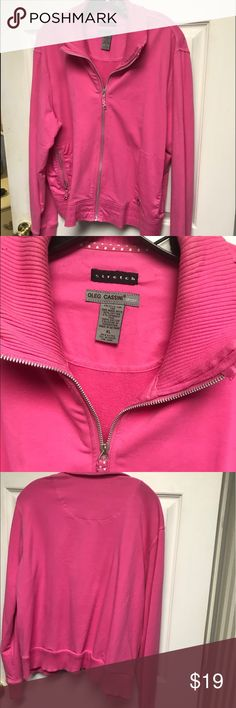 Oleg Cassini Hot Pink Cotton Jacket Size XL Cute lightweight cotton jacket designer Oleg Cassini Zip Front spring summer jacket size XL Oleg Cassini Jackets & Coats Jean Jackets