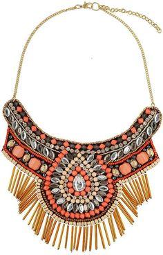 Peach Bead Fabric Necklace