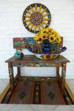 Artistic hub caps- my next outdoor/indoor decor idea!!! I cant wait!!!!!!!!!!!!!!!!!!!!!!
