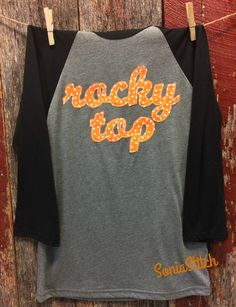 Rocky Top Baseball Tee - Rocky Top Raglan - Tennessee Rocky Top Shirt- Orange and white polka dot - Vols Fan shirt by SoniaStitch on Etsy