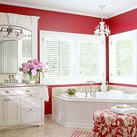 I wiiiish I had a corner bathtub like that omg! colors are beautiful as well.