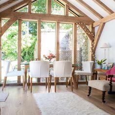 A glazed gable end in an oak framed extension