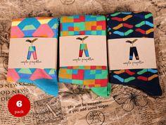 6 PACK of colorful pattern socks for men / mens socks/ fun socks/ happy socks/ gift for him / groomsmen gift/fathers day gift by MaplePropeller on Etsy https://www.etsy.com/listing/209553337/6-pack-of-colorful-pattern-socks-for-men