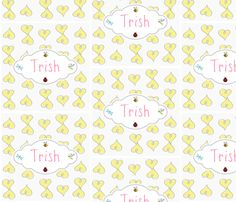 Doodle Hearts Yellow Personalzied fabric by drapestudio on Spoonflower - custom fabric -great for baby blankets and pillow cases / covers