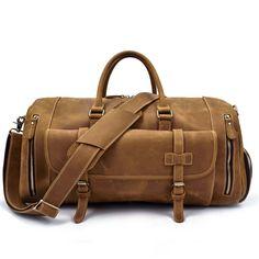 358de0df0f Crazy Horse Genuine Leather Travel Bag Men Vintage Travel Duffel bag big  Cow Leather Carry On Luggage Weekend large shoulder Bag