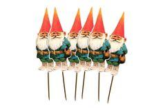 Cupcake Toppers Durable / Reusable Garden Gnome Man by LaLaForest