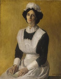 Being in Service in Victorian England -- Artist: George Lambert.  The Maid, 1915