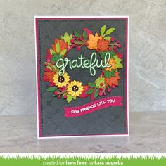 Lawn Fawn Intro: Magic Iris Fall Leaves Add-On - Lawn Fawn Fall Leaves Background, Lawn Fawn Blog, Leaf Stencil, Holiday Messages, Polka Dot Paper, Whimsy Stamps, Welcome Fall, Interactive Cards, Shaker Cards