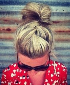 When braiding into a low bun, braid with holding mousse for reduced frizz and a longer hold.