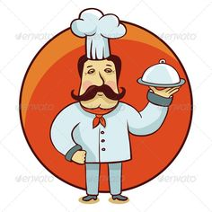 Vector Cartoon Character Chef #GraphicRiver Vector cartoon character – chef cook…