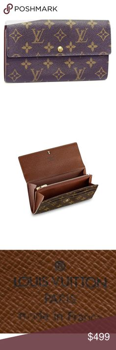 """❣️Authentic Louis Vuitton """"Sarah"""" wallet monogram Louis Vuitton """"Sarah"""" wallet in monogram canvas, single snap opening to two small slots, two interior compartments, center zippered storage, light minor wear to interior, approx 4.25""""h, 7.5""""w Louis Vuitton Bags"""