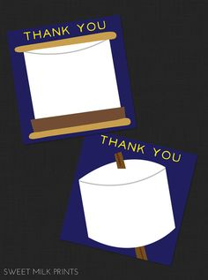 Printable S'more Party Birthday Thank You Card by SweetMilkPrints