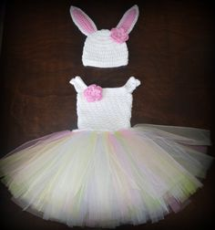 Crochet Easter Bunny Baby Tulle Tutu Dress & Matching Hat Photo Prop Custom Made Boy Girl Costume on Etsy, $793.43