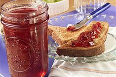 PLUM JAM --Discover SURE.JELL Plum Jam, a deliciously sweet fruit spread. Cook fresh plums, sugar and fruit pectin for a scrumptious homemade jam that everyone will love! Raspberry Rhubarb Jam, Raspberry Freezer Jam, Rhubarb Jam Recipes, Plum Jam Recipes, Kraft Recipes, Red Raspberry, Kraft Foods, Plum Jelly, Jam And Jelly