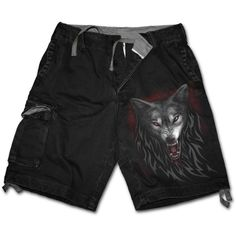 Sale LEGEND OF THE WOLVES Vintage Cargo Shorts Black Shop Online From Spiral Direct, Gothic Clothing, UK