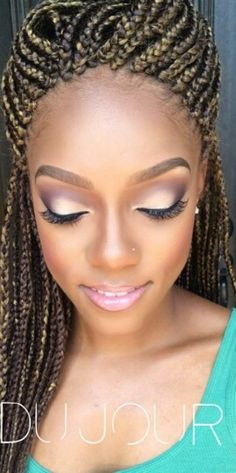 Blonde Box Braids • #BoxBraids • Protective Styles • Singles • Hair • Extensions • Makeup for black women •