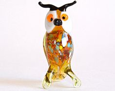 Art Glass Owl Figurine Animal Sculpture Glass Bird Figurine Glass Figurine Owl Figure