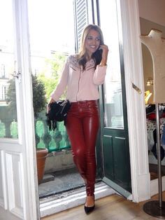 Amateur in red leather pants