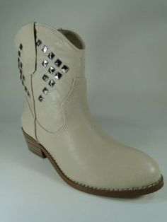 New Women's Skin Color Cowboy Ankle High Med Heel Boots #F44