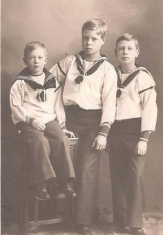 Princes, Harry, David, and Bertie. Two futures Kings, Edward VIII (center), and George VI (right), and the future Duke of Gloucester, (left)