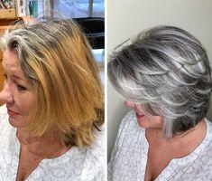 Grey Hair Styles For Women, Short Hair Cuts For Women, Medium Hair Styles, Curly Hair Styles, Long Gray Hair, Silver Grey Hair, Brown Blonde Hair, Blonde Honey, Silver Hair Highlights