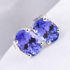 AA Premium Tanzanite Stud Earrings in White Gold ctw Tanzanite Jewelry, Periwinkle Blue, Three Dimensional, Shades Of Blue, Birthstones, Burgundy, White Gold, Stud Earrings, Jewellery